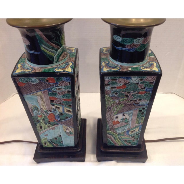 Early 20th Century Famille Noire Chinese Lamps - a Pair For Sale In West Palm - Image 6 of 13