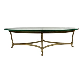 1960s Hollywood Regency Brass Cocktail Table With Hoofed Feet by LaBarge For Sale