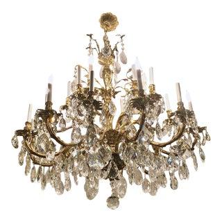 Vintage Twenty Four Light Massive Bronze And Crystal Chandelier