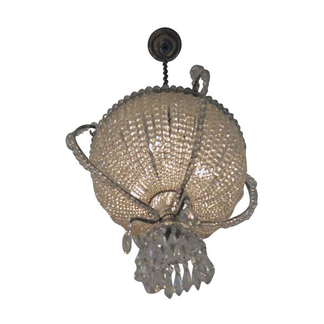 1920s Basket Chandelier Made Of Beaded Crystals The Chain Can Be Shortened Or Lengthened