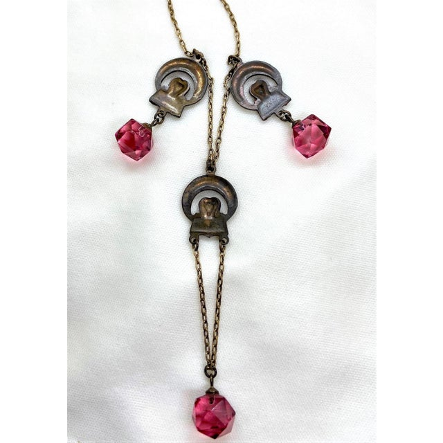 Metal 1920s Deco Era Brass and Pink Faceted Glass Necklace For Sale - Image 7 of 8