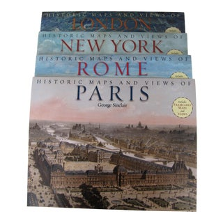 Maps & Views Books of London, Paris, New York and Rome- 4 Pieces For Sale