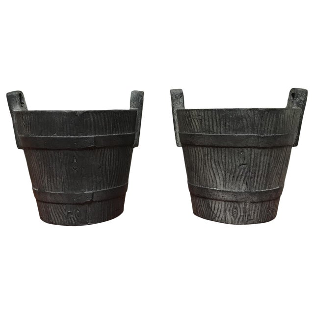 20th Century Spanish Terra-Cotta Faux Bois Cachepots - a Pair For Sale