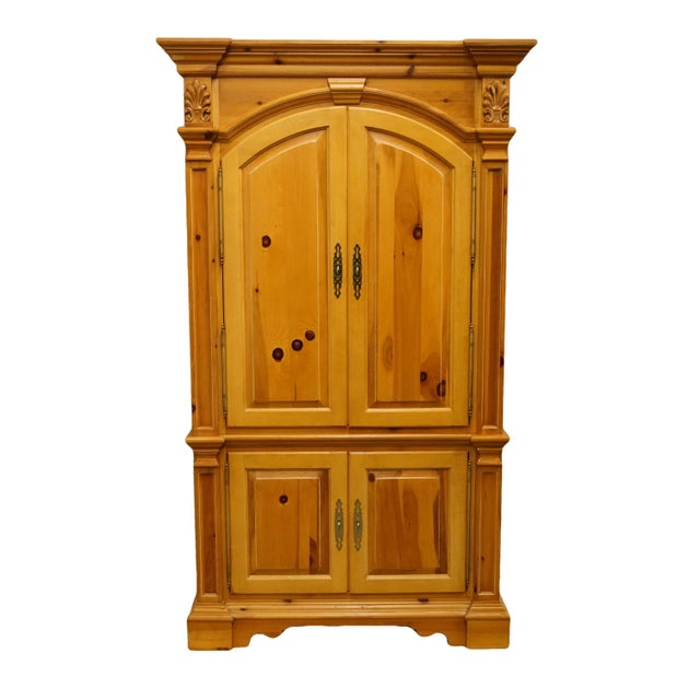 "20th Century French Country Lexington Furniture Solid Pine 48"" Tv Media Armoire For Sale - Image 13 of 13"