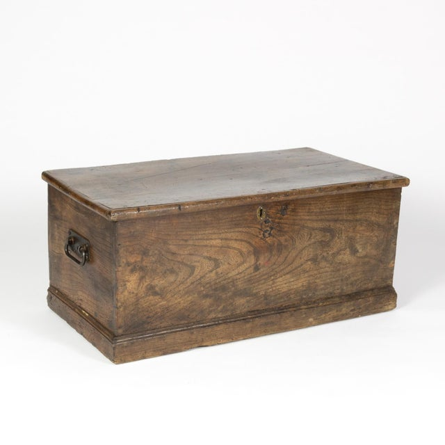 Rustic Chestnut Trunk With Over-Scale Iron Hinges, English Circa 1860. For Sale In San Francisco - Image 6 of 13