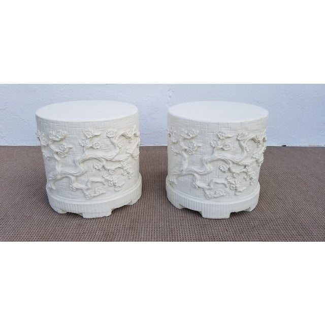 1970s Hollywood Regency Cherry Blossom Design Cement Side Tables - a Pair For Sale - Image 10 of 10