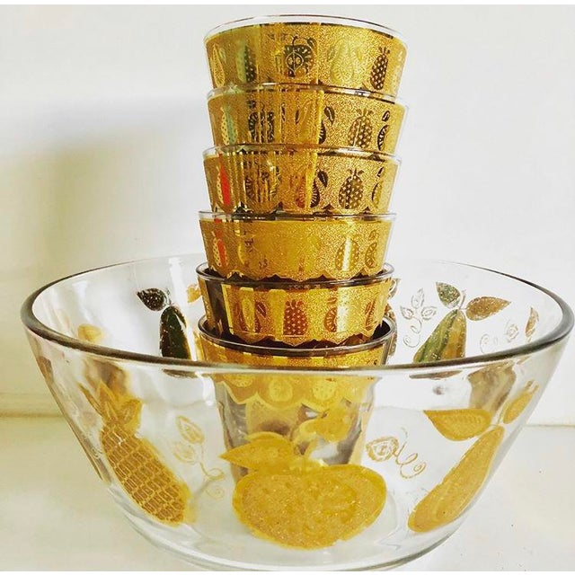 A gorgeous set of Culver Florentine fruit barware. Set includes 6 glasses and matching bowl These are signed and incrusted...
