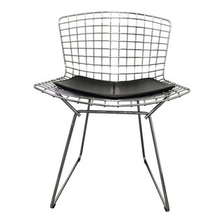 Mid-Century Modern Knoll Bertoza Chrome & Black Vinyl Chair For Sale