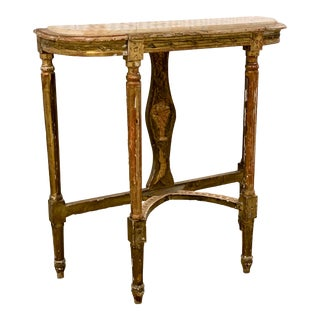 Mid 18th Century Antique French Gilt Wood Console With Marble Top For Sale