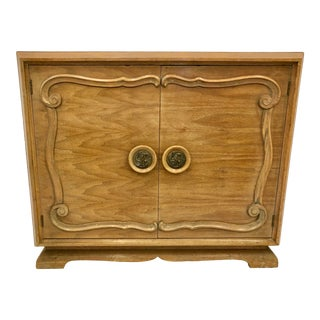 Vintage Draper Style Hollywood Regency Buffet Cabinet For Sale