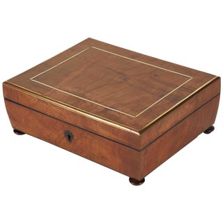 Mid-19th Century English Olive Wood Brass Inlaid Box For Sale