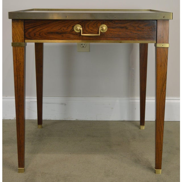 Baker Vintage Regency Directoire Style Rosewood One Drawer Side Table For Sale - Image 11 of 13