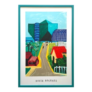 "David Hockney Rare Vintage 1989 Lithograph Print Framed Collector's Pop Art Poster "" Hancock St. West Hollywood 1 "" For Sale"