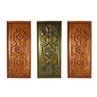 Hand Carved Green Brown Floral Geometric Wall Hanging Decorative Plaque Panels - Set of 3 For Sale