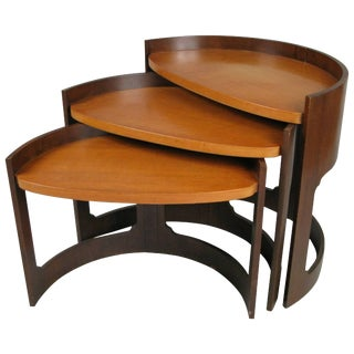 Set of 1960s Curved Stacking Nesting Tables For Sale