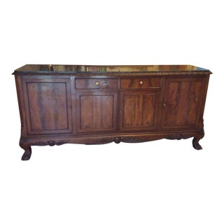Marble Top French Credenza With Cabriolet Legs