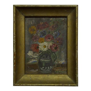 "Original Framed Painting on Board ""Flowers"" by g.c. Gorman, 1920"