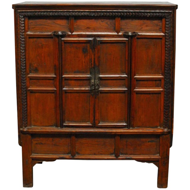 Chinese Carved Two-Door Cabinet Chest For Sale