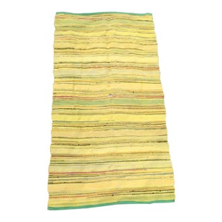 Vintage Yellow Striped Distressed Woven Rag Rug - 3′ × 5′7″ For Sale