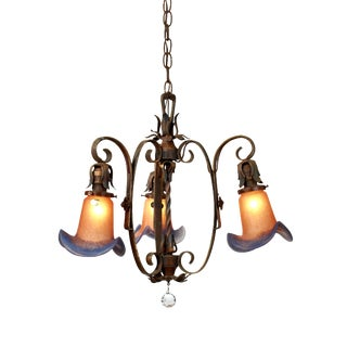 1920's Spanish Three Arm Chandelier With Vianne Glass Shades For Sale
