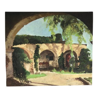 1960s Vintage San Juan Capistrano Mission Oil on Board Painting For Sale
