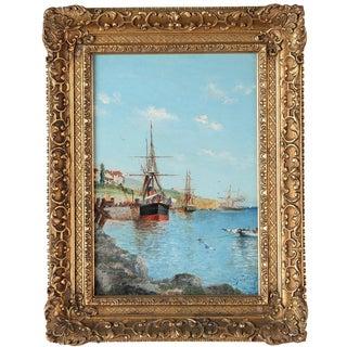 19th-Century Italian Harbor Painting For Sale