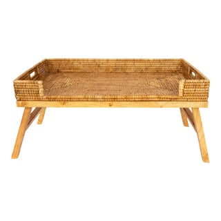 Artifacts Rattan Breakfast Tray/Table - Honey Brown For Sale