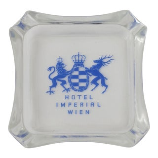 Vintage Hotel Imperial Wien Glass Ashtray For Sale