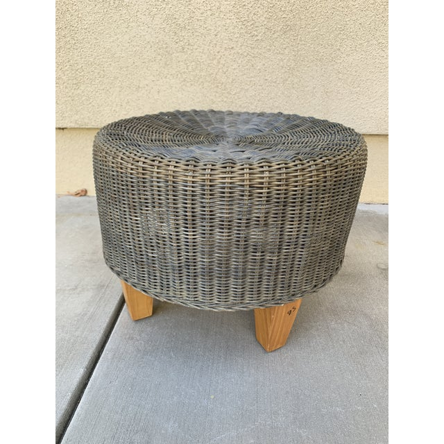 2000 - 2009 Rustic Wicker Wood Ottoman Footstool For Sale - Image 5 of 10