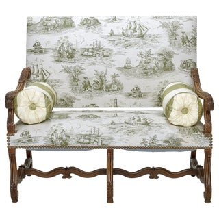 Late 19th Century Vintage Louis XIV Walnut & Toile Fabric Settee For Sale