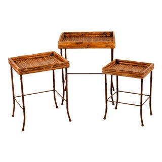 Bamboo Nesting Tables - Set of 3 For Sale