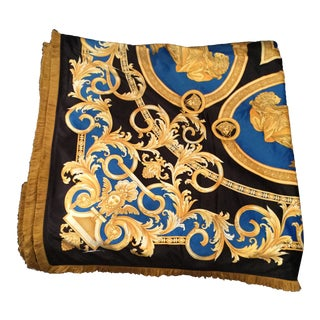 Gianni Versace Custom Blue & Gold Urn Design Velvet Throw For Sale