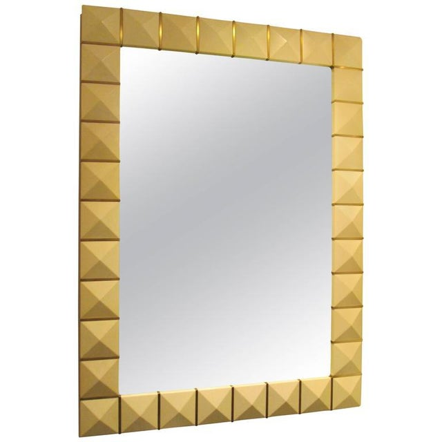 Brass Custom Geometric Parchment Mirror with Inlaid Brass For Sale - Image 7 of 7