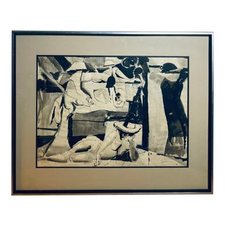 Late 20th Century Figurative Abstract Ink and Gouache Painting by Joseph Jankowski, Framed For Sale