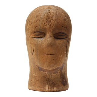 Primitive Cork Mannequin Display Head For Sale