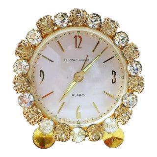 1930s Vintage German Bejeweled Alarm Clock For Sale