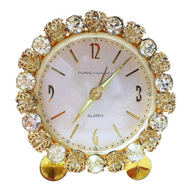 1930s Vintage Phinney-Walker Bejeweled Alarm Clock - Image 1 of 8
