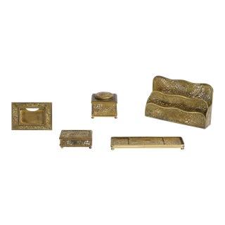 Late 20th Century Tiffany Studios Gilt Bronze and Favrile Glass Desk Accessories, 5 Pieces For Sale