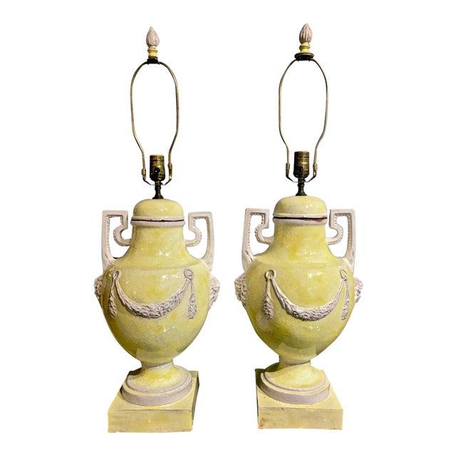 Pair Italian Glazed Terra Cotta Urn Lamps, C. 1960 For Sale