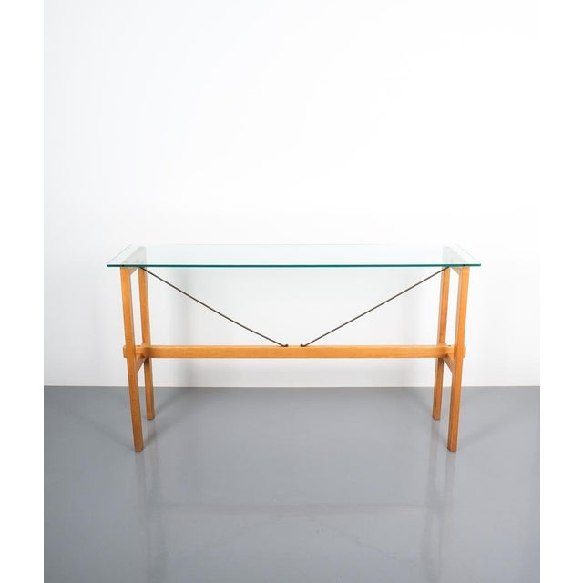 """Rare Superstudio console table wood and glass Zanotta, Italy, circa 1980. Minimalistic and large 57"""" console table made..."""