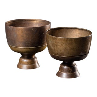 Two Antique Cambodian Bronze Offering Bowls on Stand Circa 1850 Priced Each For Sale