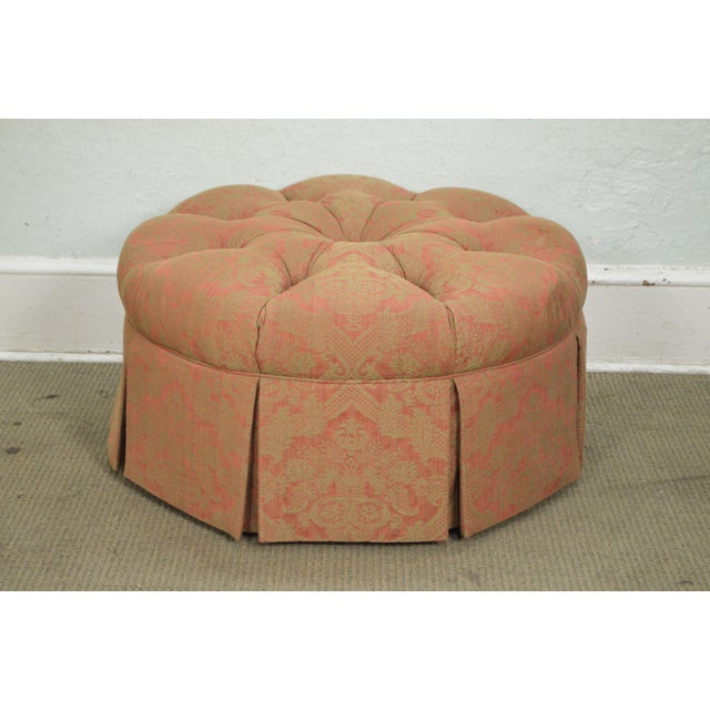 STORE ITEM #: 16297 Custom Upholstered Round Tufted Ottoman AGE/COUNTRY OF ORIGIN – Approx 20 years, America...