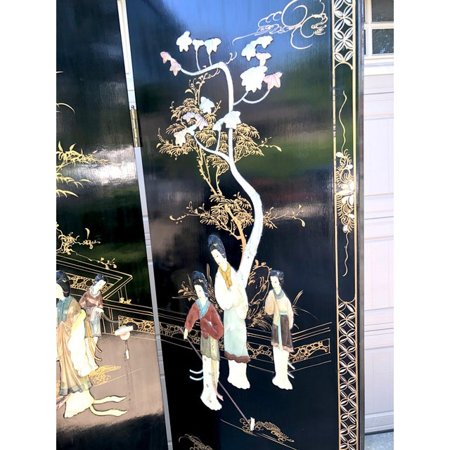 1940's Asian Jade and Black Lacquer Coromandel Room Divider For Sale - Image 4 of 13