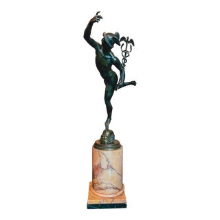 Early 19th Century Grand Tour Bronze Statue of Mercury by Giambologna on the Siena Marble Base For Sale