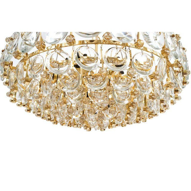 Exceptional Large Gilt Brass and Glass Chandelier Lamp, Palwa circa 1960 For Sale - Image 6 of 11