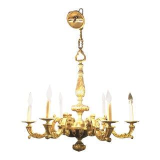 Rococo Solid Bronze Six-Light Chandelier For Sale