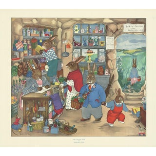 "MARGARET ROSS The Village Shop Multicolor Rabbits Poster 20.5"" x 23"" For Sale"