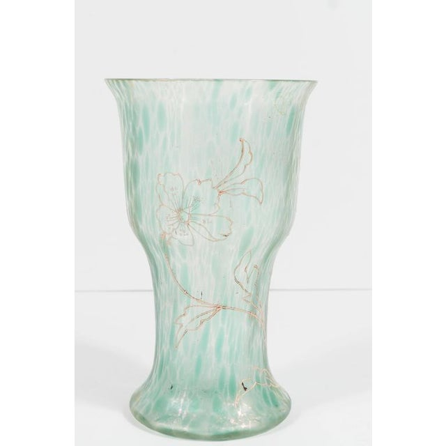 Art Nouveau Austrian Art Glass Vase in Green Iridescent and Gold Relief Vine For Sale In New York - Image 6 of 10