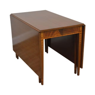 Federal Style Vintage Custom Mahogany Inlaid Drop Side Dining Table With 3 Leaves For Sale