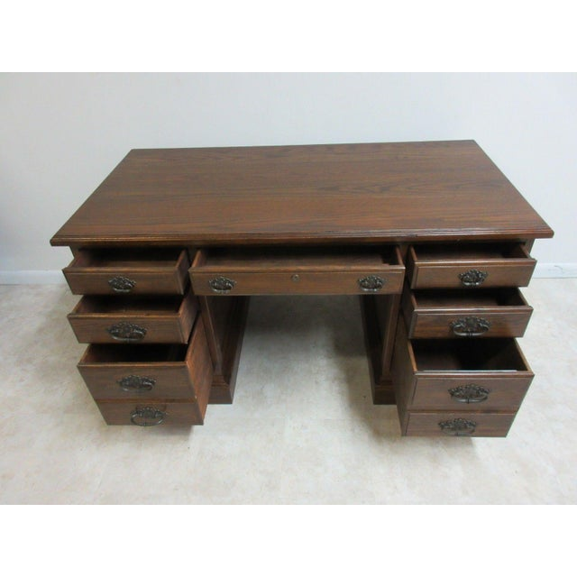 Ethan Allen Royal Charter Jacobean Carved Writing Office Desk - Image 3 of 8